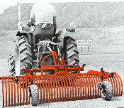 Model 3105 tractor mounted landscape rake for tractors with category 0 three point hitches, rake is 5 ft. wide.