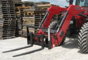 Model WOGLPF-5548 integrated frame pallet forks for loaders with Global (Euro Hook) bucket connections. Maximum capacity of 5500 lbs., 48 inch long x 4 inches wide x 1 1/2 inches thick forks.