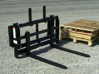 "Model WOPF-448 notched rail, tractor loader mount pallet fork assembly. Mounts on loaders with center to center distance on loader arms 50"" or less; requires optional loader brackets."