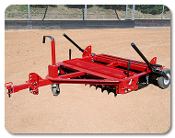 Dirt Dr. Jr. Tow Behind Infield Groomer, 4 ft. wide. Ripper bar with cutting teeth can be lowered into 3 different cutting positions. Unit has pulverizing bar and detachable finishing drag.