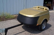 Zephyr Motorcycle Towable Cargo Trailer - Has amber tail lights, so can only be towed by motorcycles, Chrome bumper shown is optional.