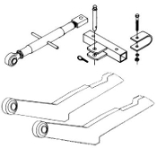 HK-132 Two point style hitch conversion kit, converts 2 point hitch to category 2 three point hitch