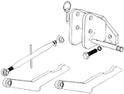 Model HK-3026 hitch kit, converts your 2 point hitch to category 1 three point hitch, for IHC/Farmall model 300 row tractor with no exposed rocker shaft and no holes in rear of differential.