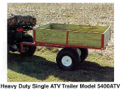 Model 5450ATV 5 ft. trailer with ATV style 20 inch wheels, optional dump kit apparatus shown also
