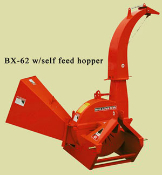 Model BX62S Tractor Mounted Brush Chipper With Self-Feed (No power feed) Hopper.