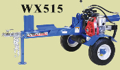 Model WX515 Trailer Mounted Tow Behind Engine Powered Horizontal Logsplitter With 5 HP Honda Engine, 20 Ton Splitting Force, 24 Inch Logs Maximum Length.
