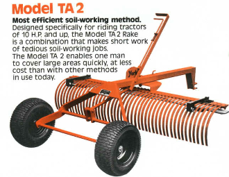 Model 2215B tow behind landscape rake with 1 7/8 inch ball coupler, rake is 5 ft. wide.