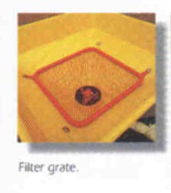 Part No. 009-5410 filter grill for 303 series Befco pendular spreaders, sifts out any large material that would clog the output spout.