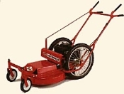 "Model 624SPSW self-propelled single speed high wheel mower with 24 inch wide side discharge cutting deck. Powered by a 8.25 Briggs engine with recoil start. Has 20"" rear tires and 7"" front swivel wheels."
