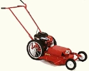 Model 622 push type high wheel mower with 22 inch side discharge cutting deck and 16 inch diameter rear wheels. Powered by a 8.25 hp Briggs engine with recoil start.
