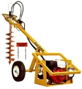 Model EA93HSPT Easy Auger walk behind self-propelled, engine/hydraulic powered digger with adjustable auger speed, powered by a 9 hp Honda engine.
