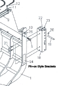 Part No. 830345 set of universal pin-type mounting brackets for medium sized tractors, has 1 inch diameter pins