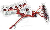 Model RC0-10V Tow behind V-type finger wheel hay rake with hydraulic lift, maximum working width is 22 ft. on this model