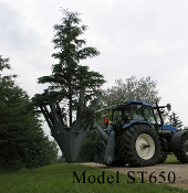 Model ST650-MC Hydraulic tree spade for larger wheel loaders and tractors. Standard skid steer quick attach mount, three point mount available as an option, standard manual control, remote control avail.