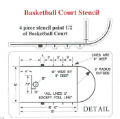 Part No. 10003145 NCAA Basketball Lane Markers, foul line and key
