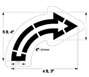 Part No. 10003996 open style turn arrow stencil for Walmart (new specifications) 5 ft. 4 inches x 4 ft. 3 inches with 4 inch stroke
