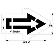 Part No. 10003995 Straight Arrow Stencil (0pen style), Walmart New Specification 6 ft. 4 inches long x 1 ft. wide with 4 inch stroke