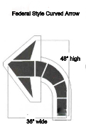 "Part No. 10003458 Curved Arrow Stencil, Federal Style, 48"" H x 36"" W"