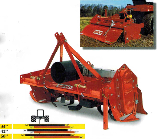 Model T30-250 Roto-Tiller for tractors from 16-30 hp, category 1 hitch, 540 rpm pto , includes slip-clutch style pto shaft