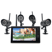 CVYH-I395 Wireless Home Security System W/4 Cameras And Monitor
