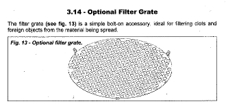 009-9913 Filter Grate Befco Hop Spreaders As Listed